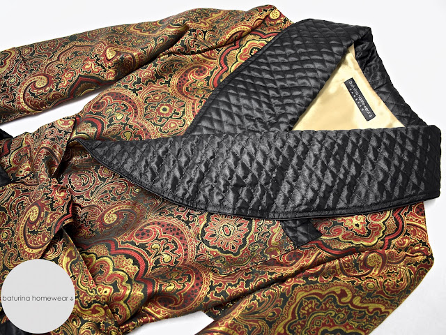 mens luxury gold paisley silk dressing gown victorian smoking jacket quilted robe black