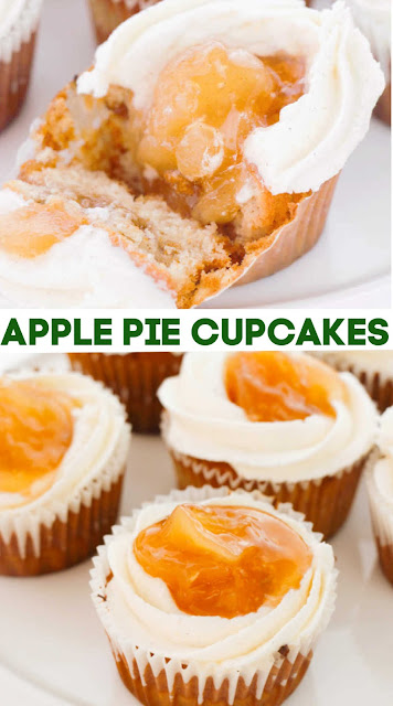 Start with perfect easy homemade vanilla cupcakes and bake some apple pie filling in the center. A ring of creamy vanilla buttercream holds more apples on top. These cupcakes are the perfect cakey version of apple pie a la mode. Make a batch to see for yourself!