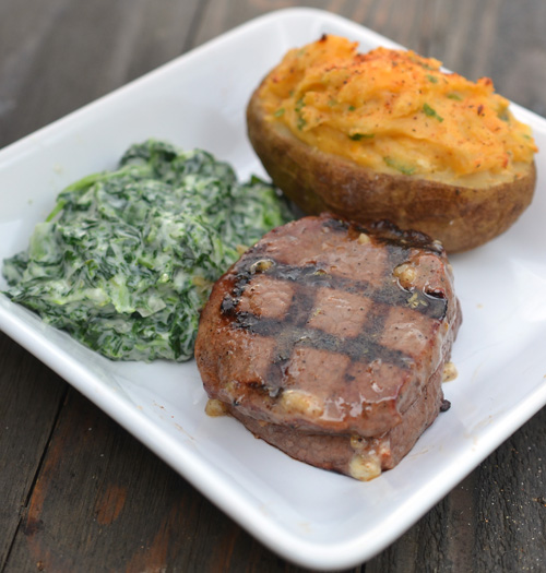 Certified Angus Beef Manhattan Filet with Cream Spinach and Twice Baked Potato