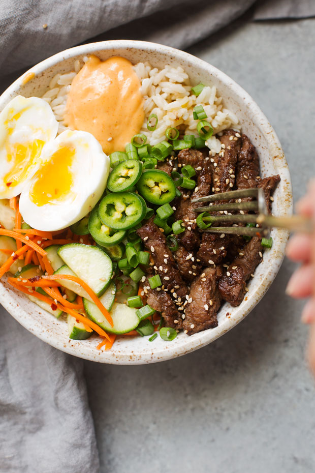 Korean Bbq Bowls With Garlic Scented Rice Cake And Food