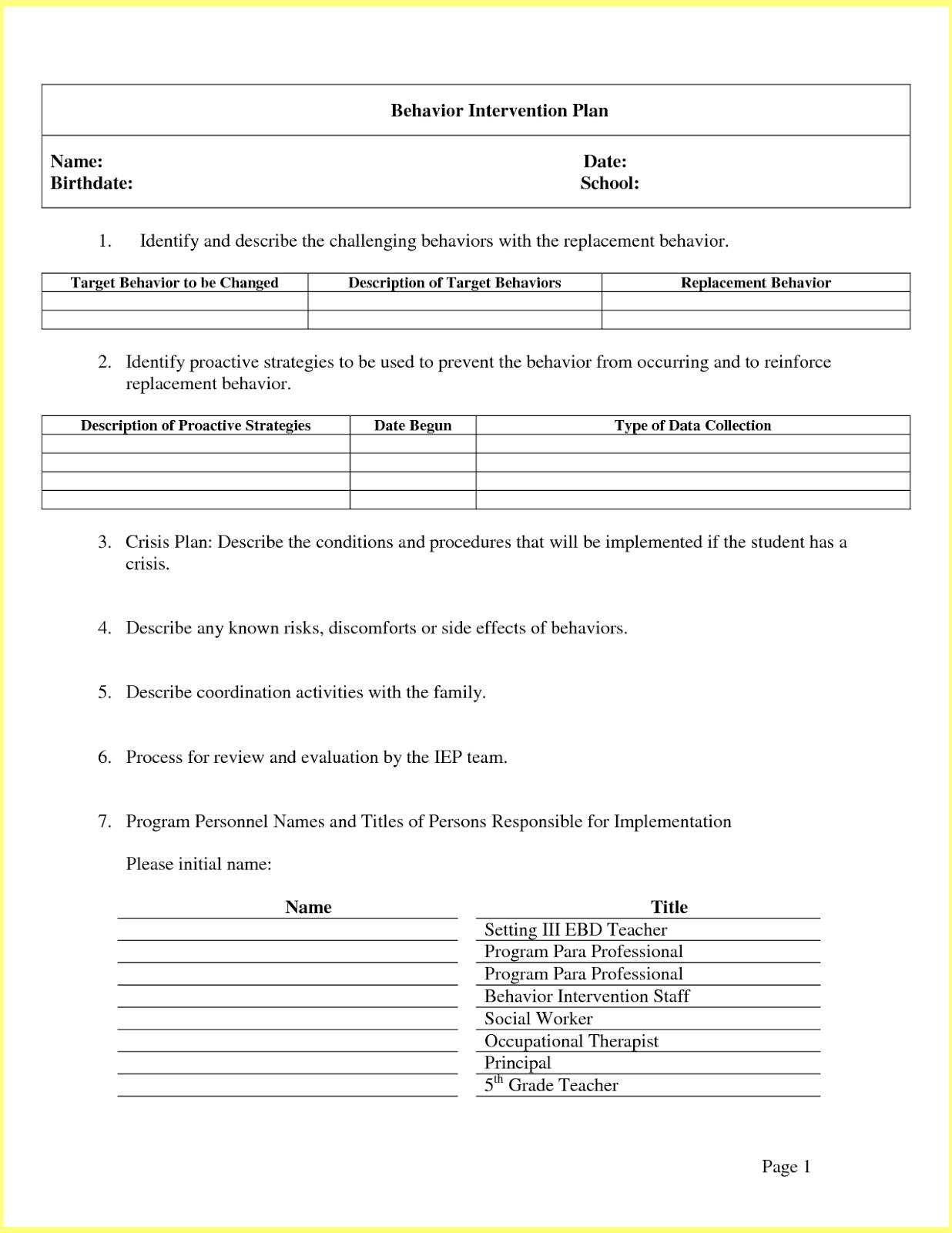 Behavior Intervention Plan Template | Resume Letter Business