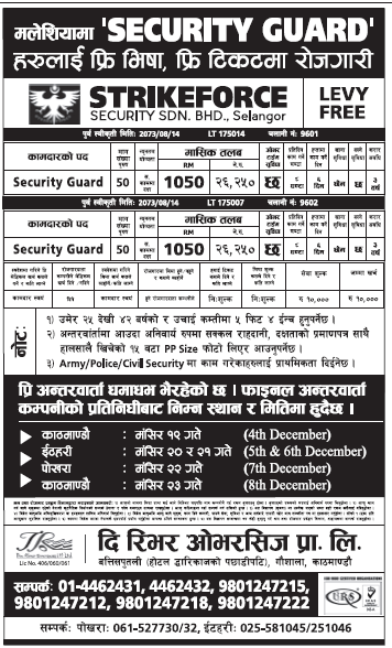 Security Guard Jobs in Malaysia for Nepali, Salary Rs 26,250