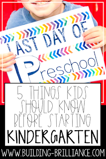 So you have a kindergartener! The first day of Kindergarten is exciting, scary, and everything in between.These are my top five skills that kids should know prior to entering kindergarten! Help your son or daughter feel more confidentin the transition to traditional school by practicing these skills prior to the first day of school. #Kindergarten #BackToSchool #BuildingBrilliance