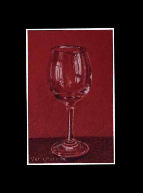 charcoal and pastel painting of a wine glass on red paper by Manju Panchal