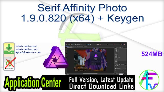 Serif Affinity Photo 1.9.0.820 (x64) + Keygen