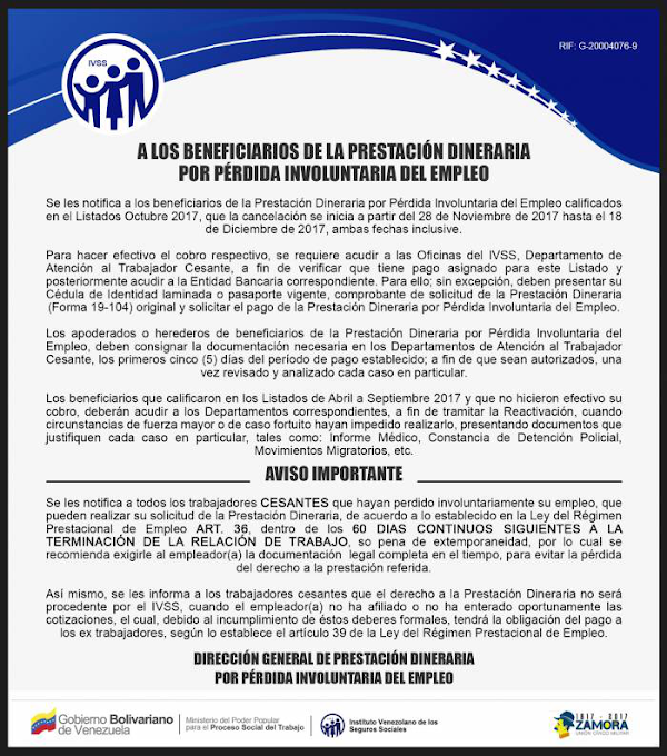 Comunicado del IVSS a los Beneficiarios de la Prestación dineraria por pérdida involuntaria del empleo (Paro Forzoso)