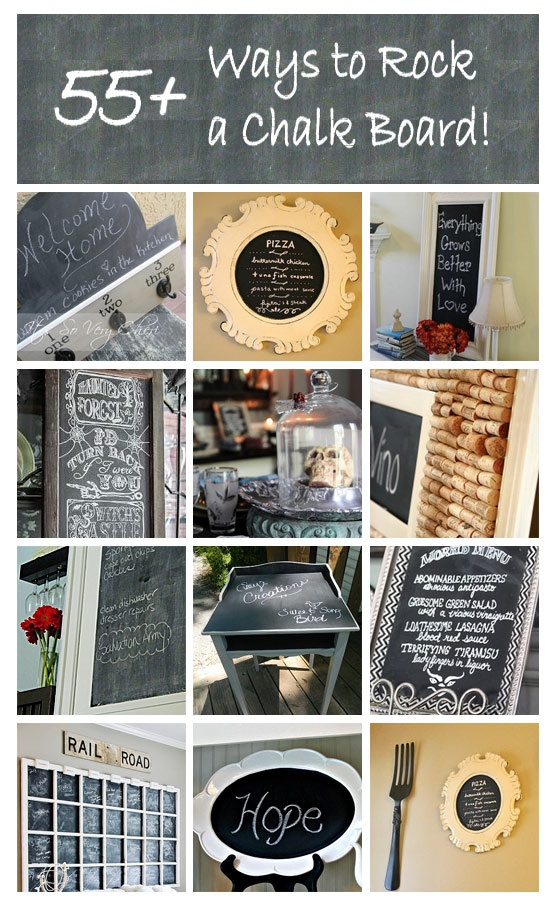 55 ways to rock a chalkboard, from HomeTalk, featured on Funky Junk Interiors