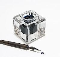 divit, divit uçlu kalem, hokka, mürekkep, mavi mürekkep damlası