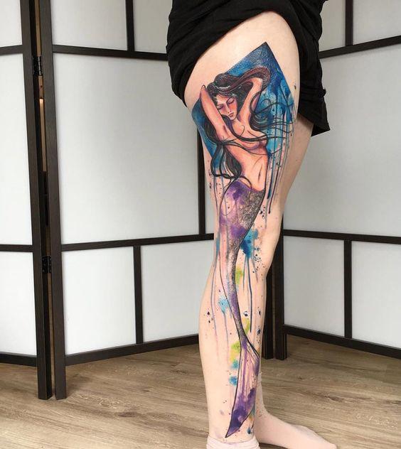 mermaid tattoo designs for legs