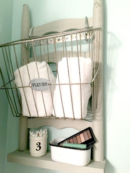 Ladder backed shelf with bicycle basket