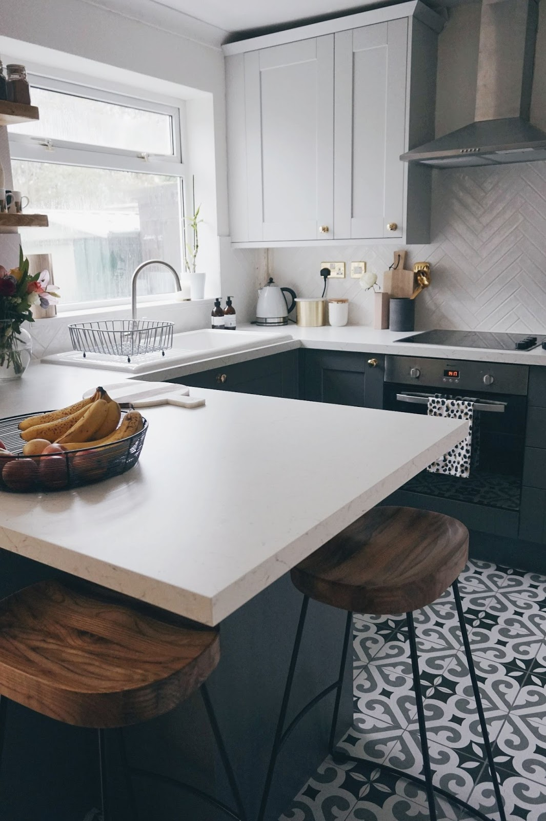 two tone grey kitchen