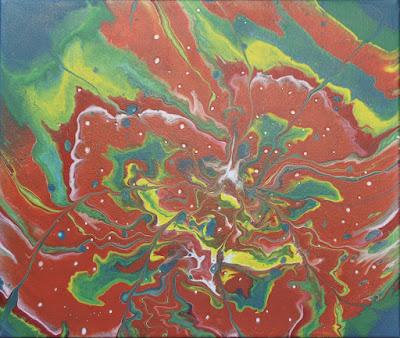 Vert, jaune, rouge et bleu sont les dominantes de cette peinture par Lafuente acrylic