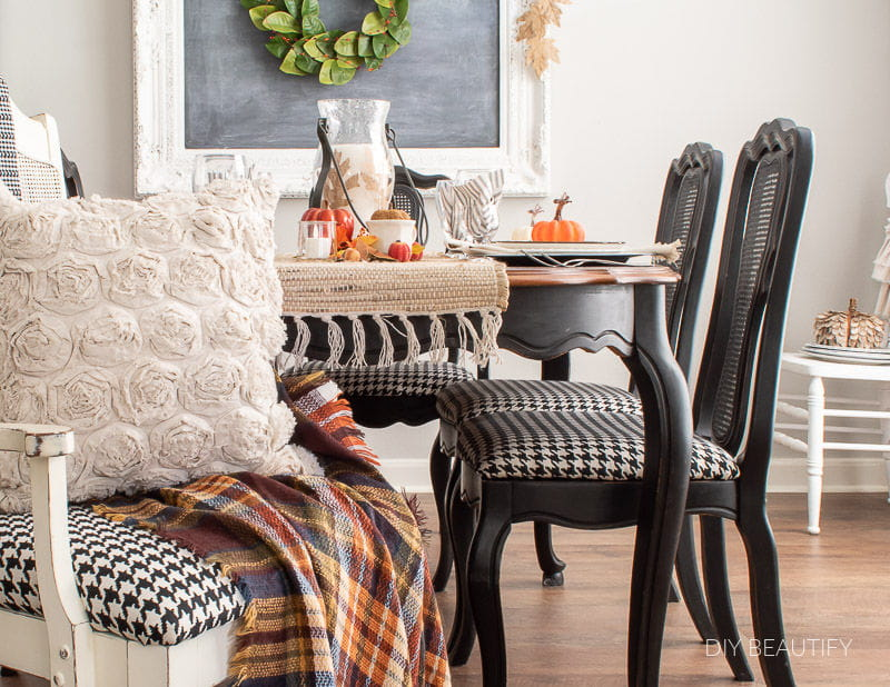 fall dining table and houndstooth chairs