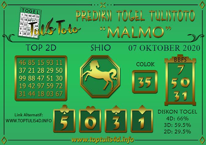 Prediksi Togel MALMO TULISTOTO 07 OKTOBER 2020
