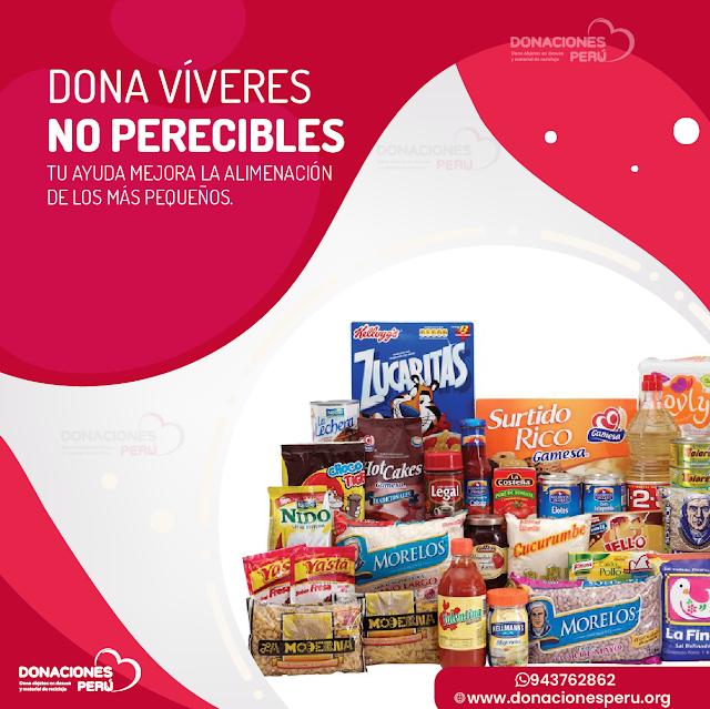 Dona Víveres no perecibles en Lima