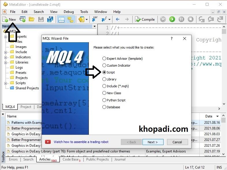 Create New Script in MetaEditor MQL