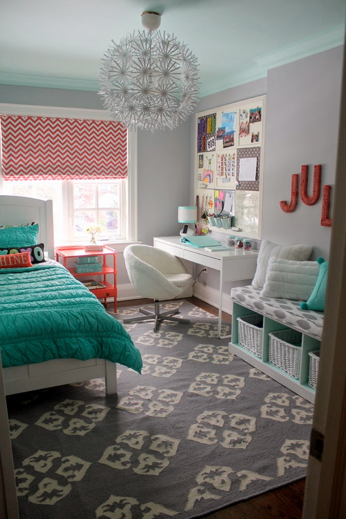 teal, pink and gray girl room