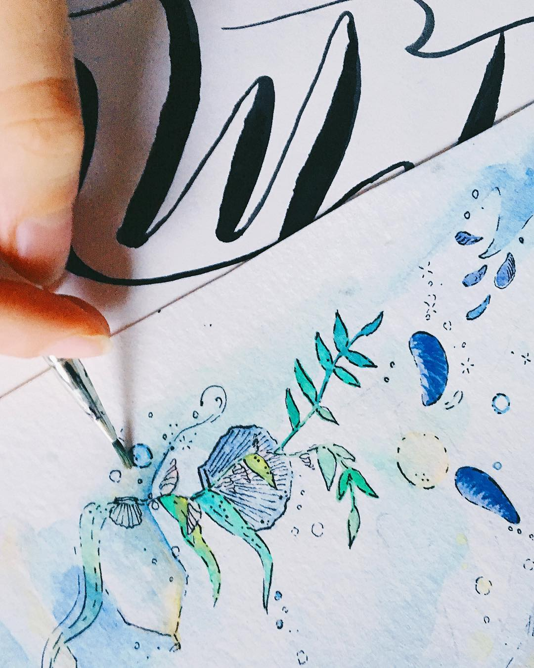 Sea themed painting in watercolours