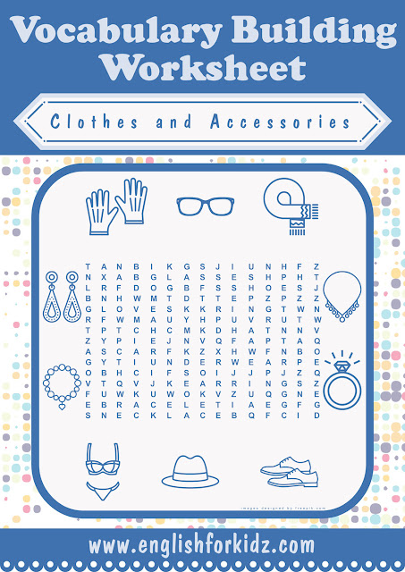 Clothes and accessories vocabulary word search puzzle