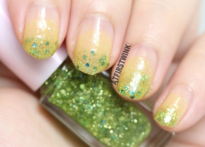 Etude House Juicy Cocktail gradation nails 8 - Lime Squash (nail polish 3 - Tangy Lime) swatches
