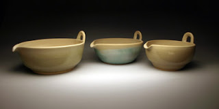 Hand crafted pottery mixing bowls
