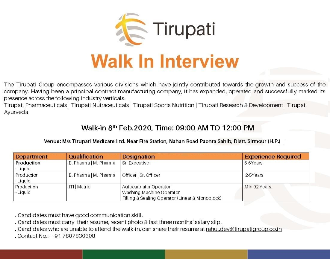 Tirupati Medicare Ltd - Walk-In Interview for Multiple Positions - Production on 8th Feb' 2020