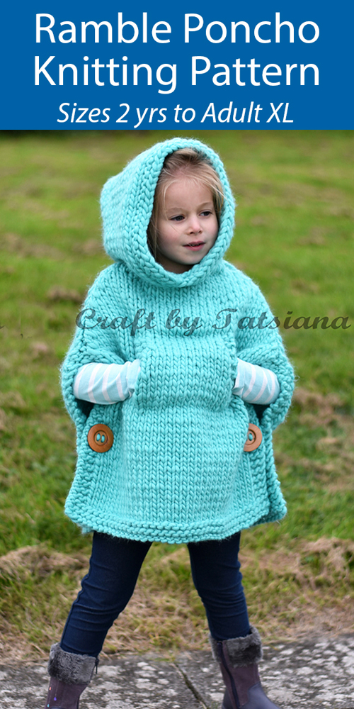 Ramble Poncho For Adults and Children - Knitting Pattern