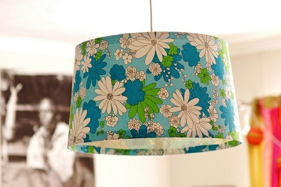 Things to sew - vintage sheet covered lampshade
