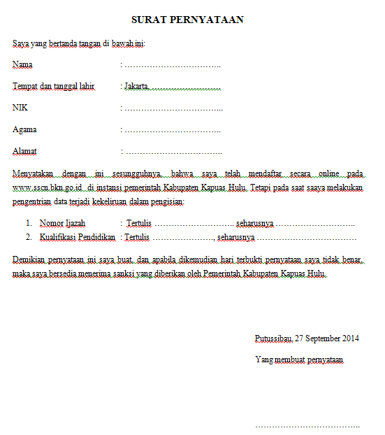 Contoh Surat Pernyataan Kesalahan Input Data