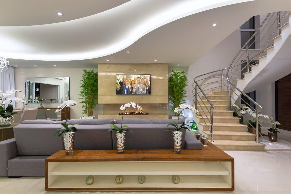 Construindo Minha Casa Clean Projeto De Salas Integradas Tv Estar  -> Sala De Estar Em L Decorada