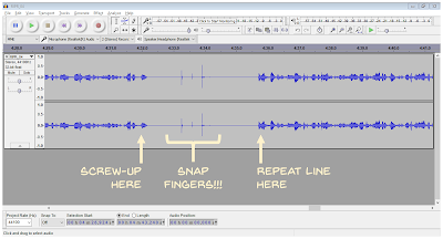 Screen shot of sound recording in Audacity comparing speech and finger snaps.