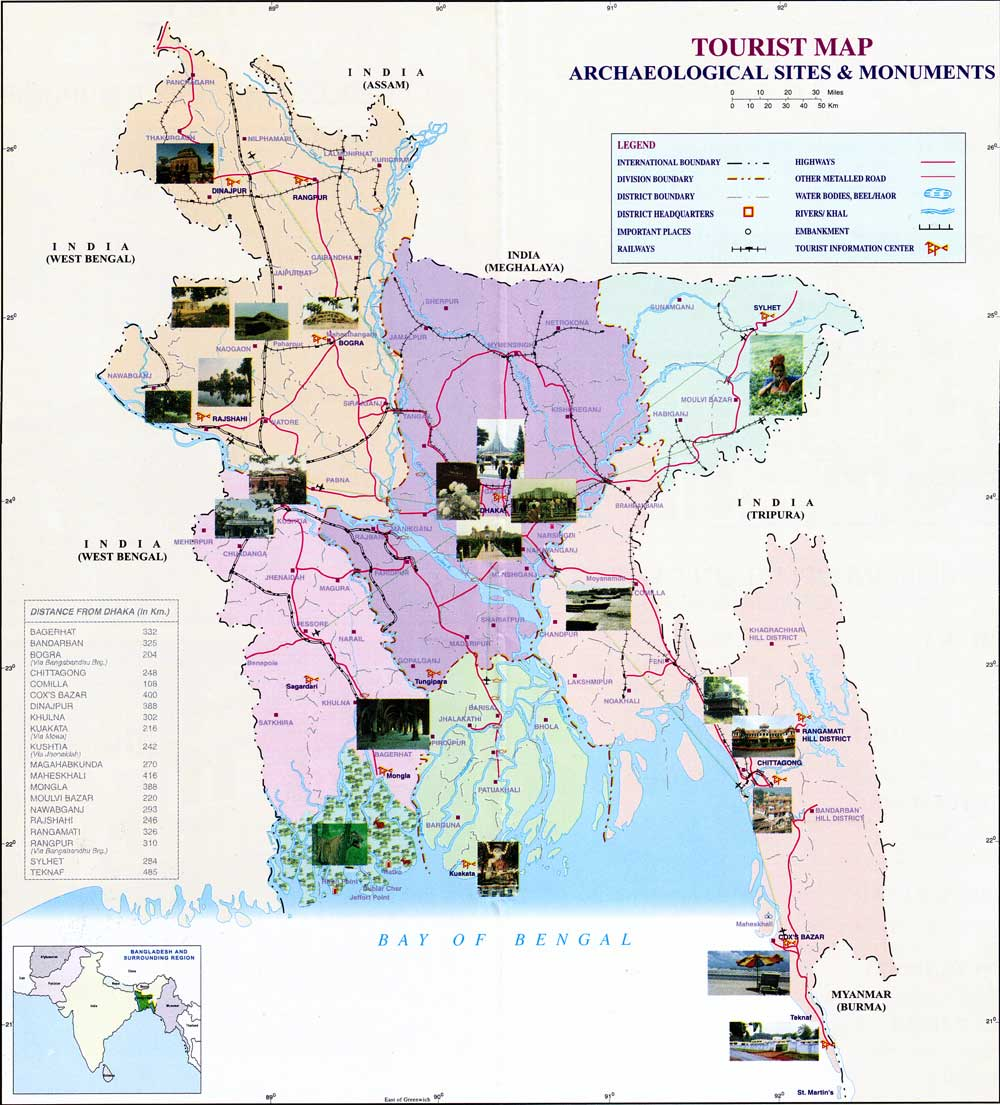 MAP ~ TOURISM BANGLADESH