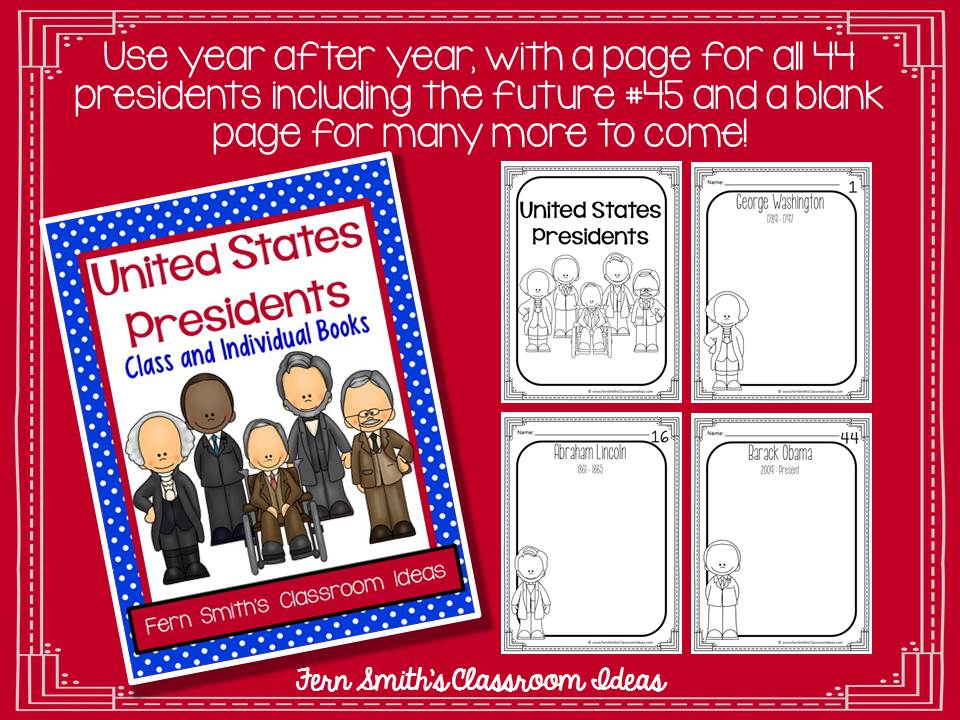Fern Smith's Classroom Ideas United States Presidents Book - Kindergarten and First Grade Version