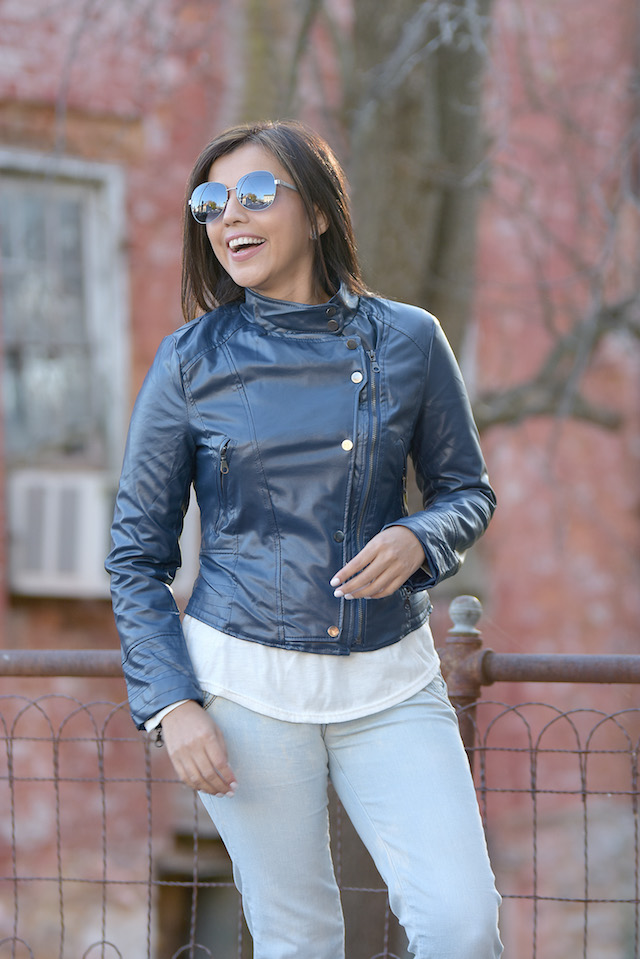 Mari Estilo- Blue Biker Jacket: Wearing: Biker Jacket: LightInTheBox Shoes: Reebok Classic Sunglasses: Steve Madden