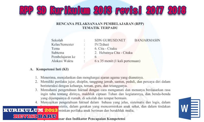 Contoh RPP SD Kurikulum 2013 revisi 2017 2018 dan Silabus