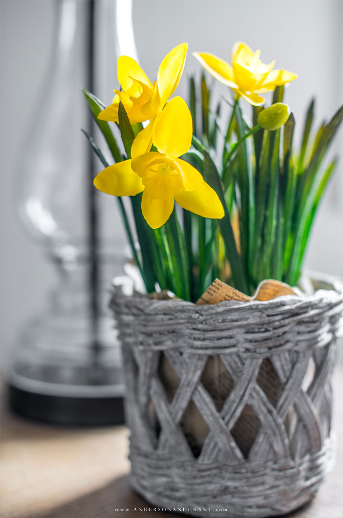 Faux daffodil in pot