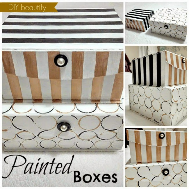updated storage boxes stripes circles gold