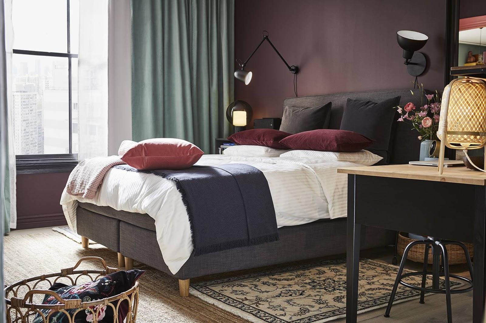 catalogo ikea 2020 dormitorio femenino decoración cortina verde
