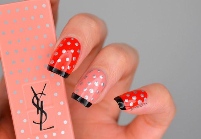 Red and Pink Polka Dot Nail Art
