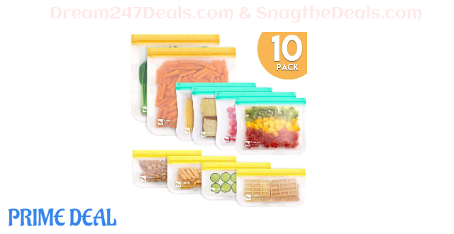 50% off Qinner Reusable Storage Bags-10 Pack (10 Pack-2 Gallon 4 Sandwich 4 Snack Bags)) Ziplock Leakproof Freezer Bag, Plastic Free Food Bags for Sandwich,Snack and Fruits|Travel Baggies