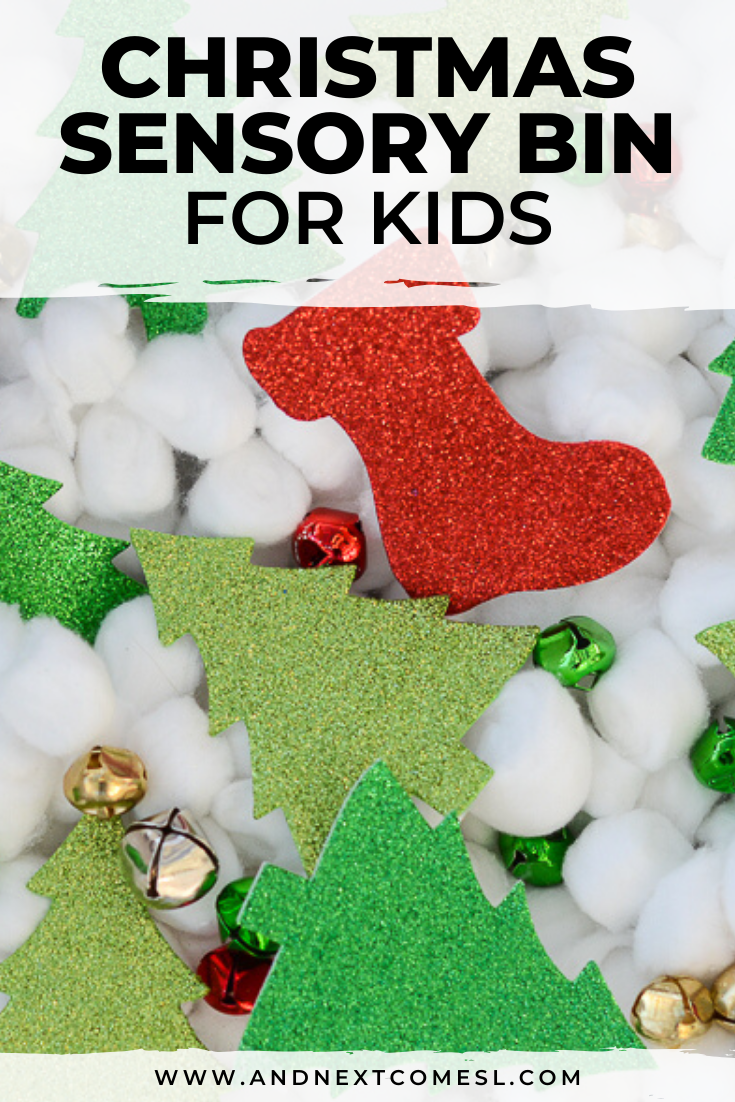Easy Christmas sensory bin for toddlers and preschoolers