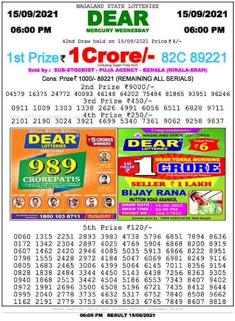 Nagaland State Lottery Result 15.9.2021 Today