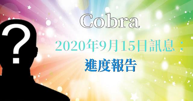 [揭密者][柯博拉Cobra] 2020年9月15日:進度報告