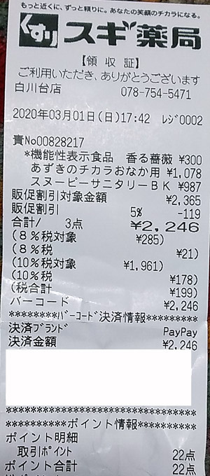 スギ薬局 白川台店 2020/3/1 のレシート