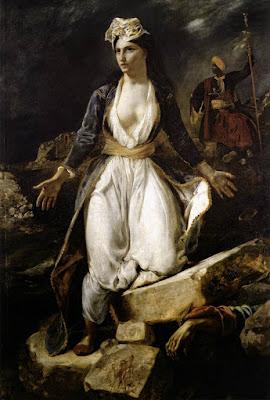 Resultado de imagen de blogspot, Grecia expirando en las ruinas de Missolonghi (1826).