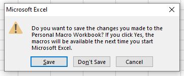Save macros to Personal macro workbook