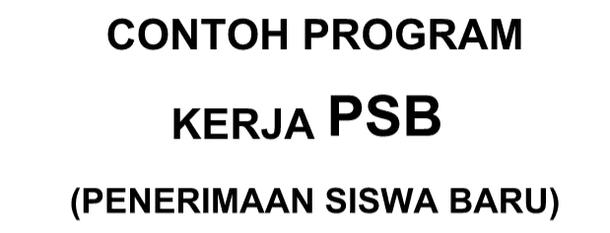 Contoh Program Kerja PSB atau PPDB (Penerimaan Siswa Baru atau Penerimaan Peserta Didik Baru)