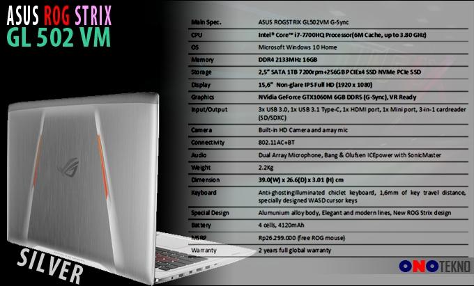 """ASUS ROG STRIX GL502VM """" Notebook Gaming Desain Futuristis dan Performa Gahar """""""
