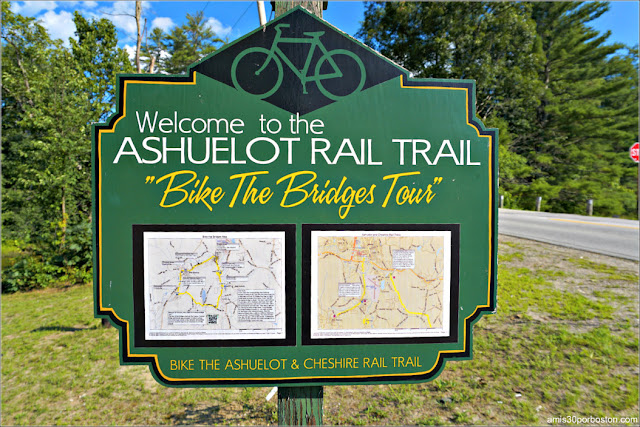 Cartel del Ashuelot y Cheshire Rail Trail en New Hampshire