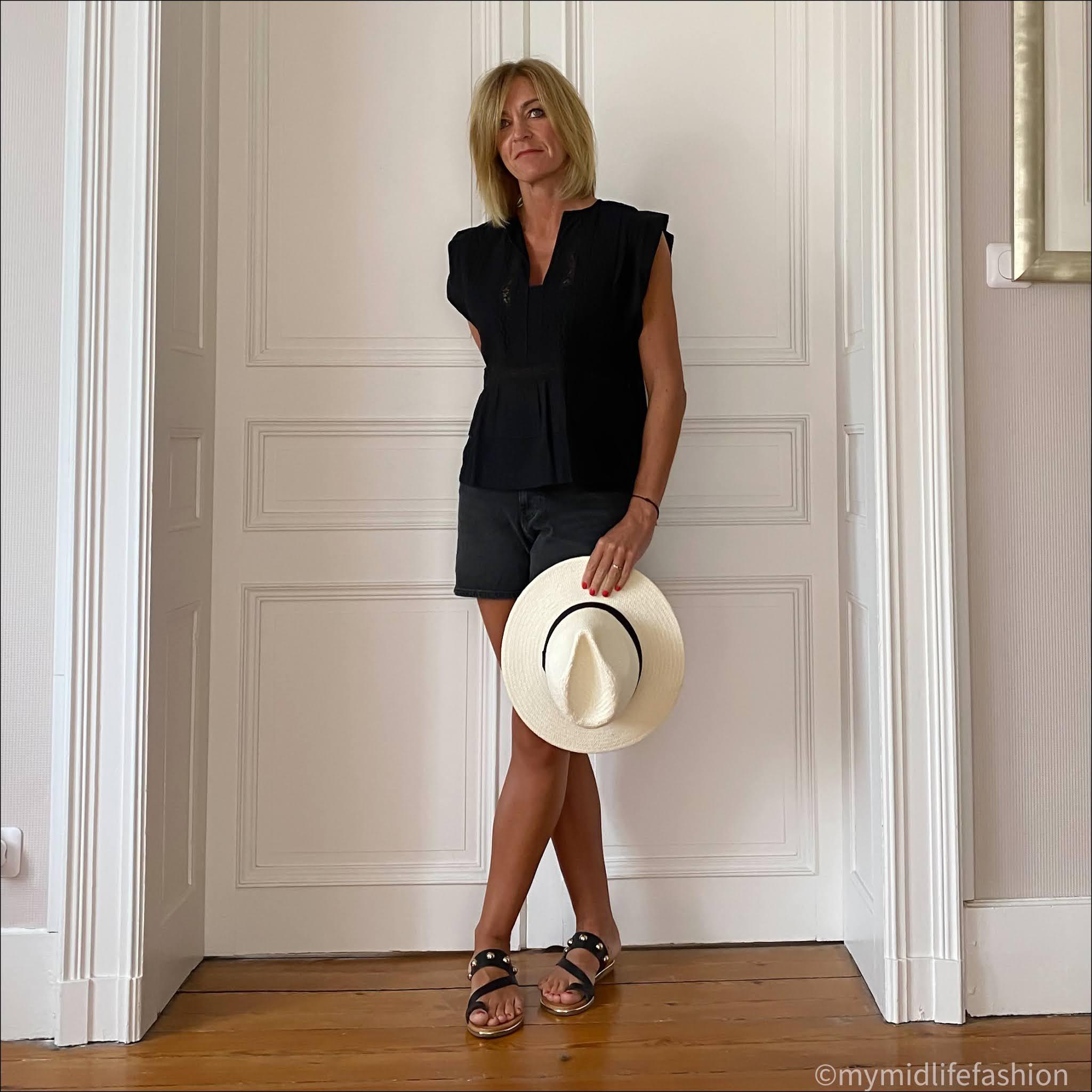 my midlife fashion, Isabel marant etoile linen top, Zara Panama hat, h and m denim shorts, carvela karafe leather sandals